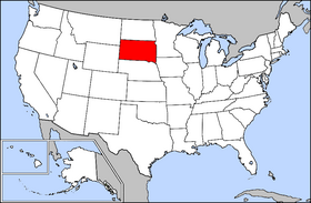 Mapa ning United States with South Dakota highlighted