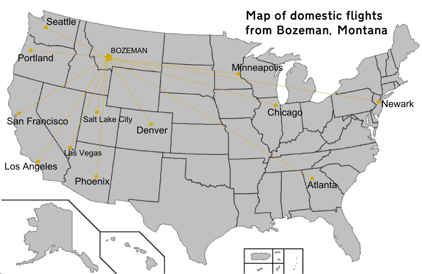 File:Map of domestic flights from Bozeman, Montana.png   Wikimedia