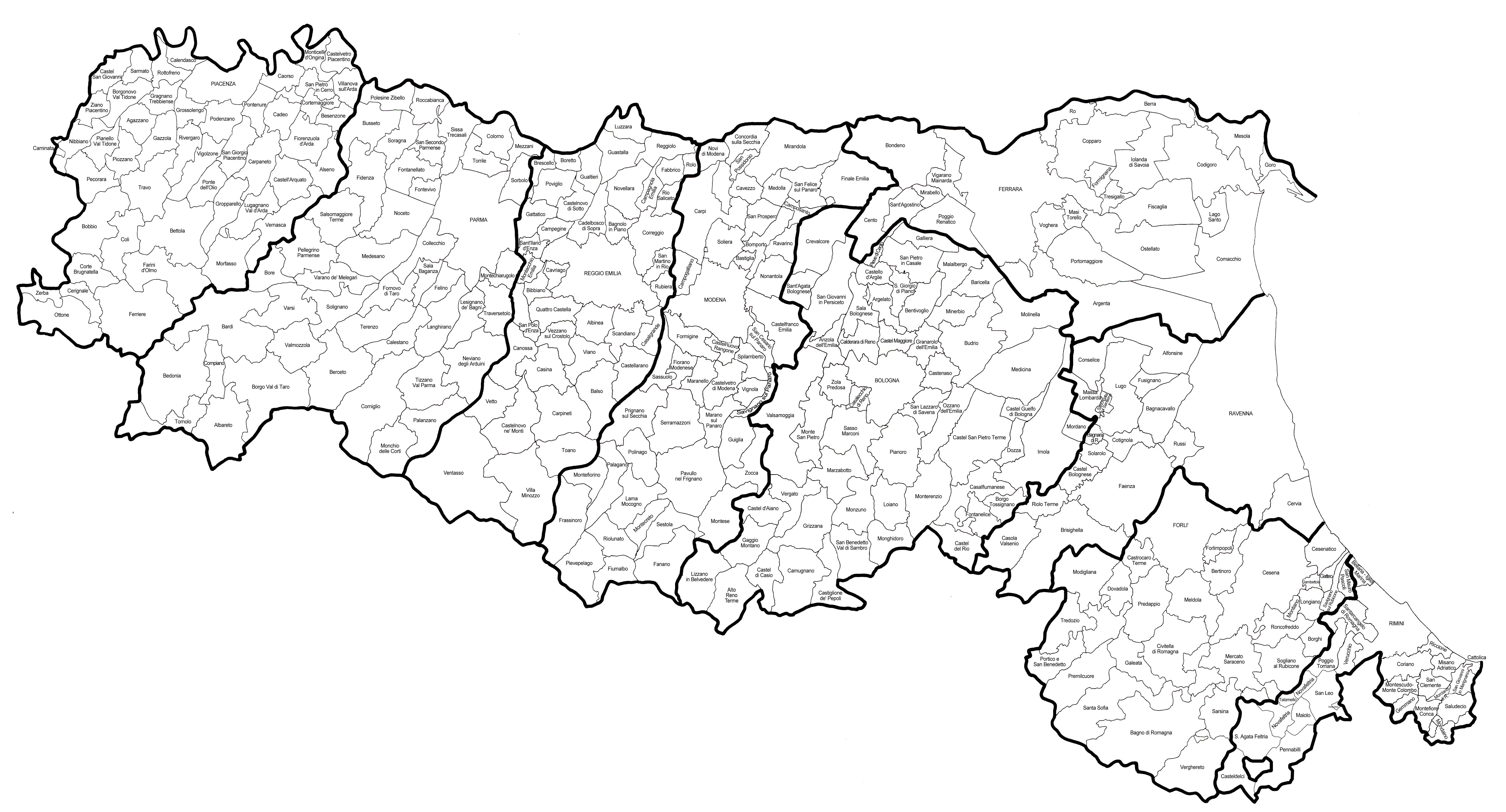 Cartina Comuni Emilia Romagna.File Mappa Regione Emilia Romagna Jpg Wikimedia Commons