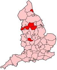 Metropolitan counties shown within England