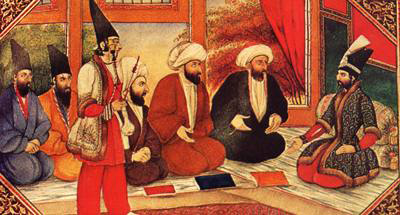 Mullahs in the royal presence. The painting style is markedly Qajari. - Iranian art