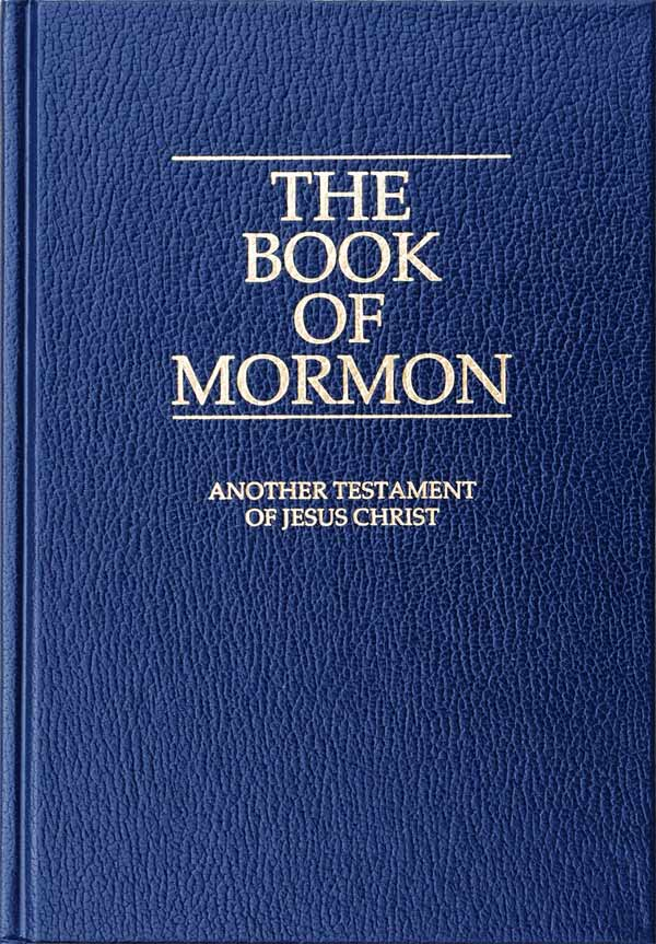 A photograph of the English-language edition of the Book of Mormon