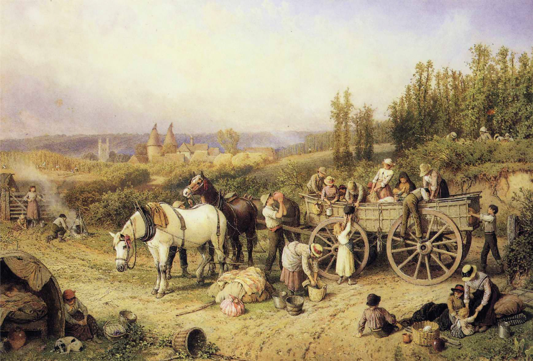 File Myles Birket Foster The Farm Cart JPG Wikimedia mons