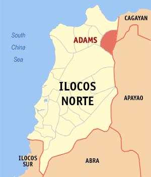 Mapa na Ilocos ed Baybay ya nanengneng so location na Adams