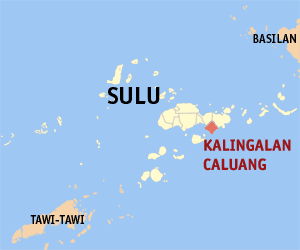 Map of Sulu showing the location of Kalingalan Caluang