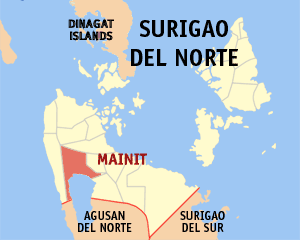 Map of Surigao del Norte showing the location of Mainit