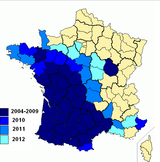 Répartition vespa velutina 2013.png