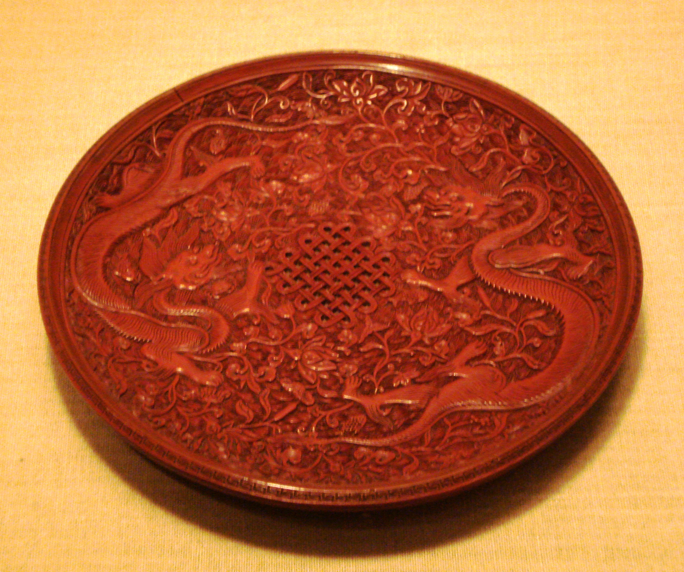 File Red Lacquerware Dish Ming Dynasty Jpg Wikimedia