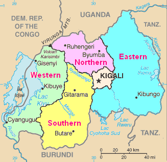 Map of Rwanda from CIA World Factbook, with pr...