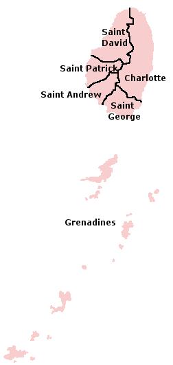 מפת מחוזות סנט וינסנט והגרנדינים