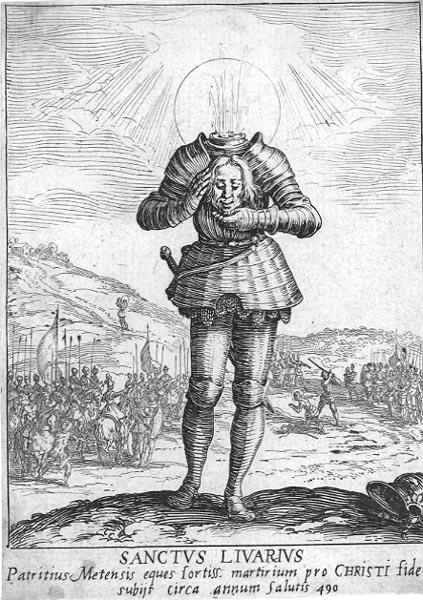 Den hellige Livarius, illustrasjon av Jacques Callot (1592-1635) til Alphonse de Rambervillers (ca 1560-1633): «Les actes admirables en prosperité, en adversité, et en gloire du bienheureux martyr Sainct Livier, Gentil-homme d'Austrasie» (1624)