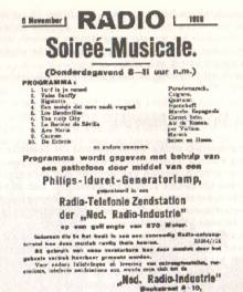 Advertisement placed in the November 5, 1919 Nieuwe Rotterdamsche Courant announcing PCGG's debut broadcast scheduled for the next evening.[1]