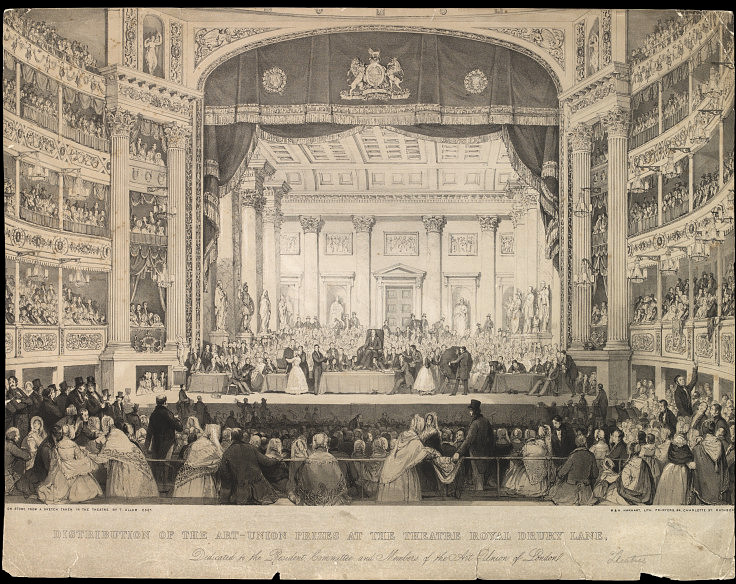 An image of a prize distribution of the Art Union of London in the Theatre Royal, Drury Lane.