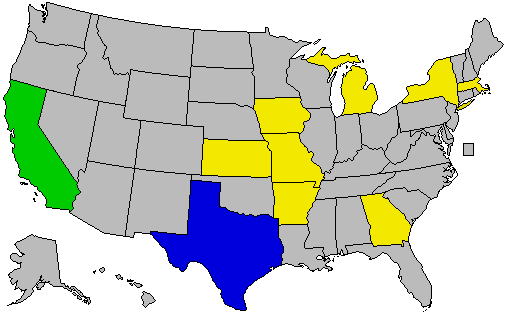 A map of all of the official  those administered by NARA  U S  presidential  libraries by U S  state  States denoted in yellow have 1 official   administered. Presidential library   Wikipedia