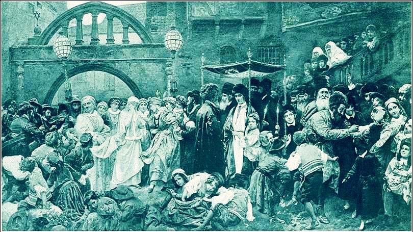 Ceremonia nupcial judía, siglo XIX. Los músicos aparecen en la izquierda.