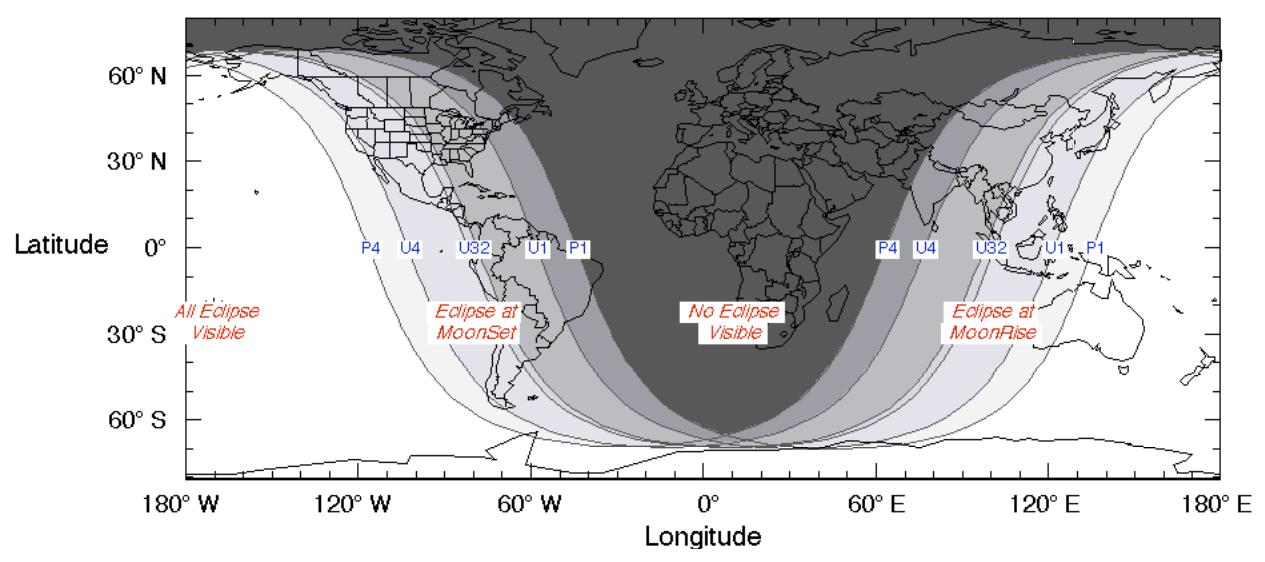 lugares en los que se podrá ver el eclipse lunar total 2021
