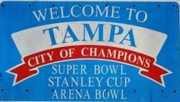 A sign celebrating sports successes in Tampa