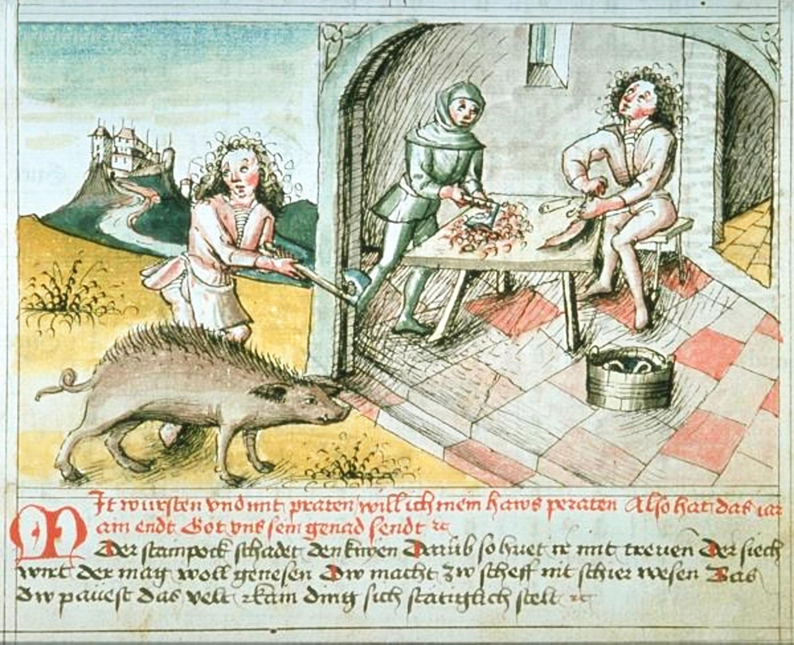 """""""Mit wursten und mit praten / will ich mein haws peraten. Also hat das iar ain endt / got uns sein genad sendt."""". Kalenderblatt , um 1475 (Wien, ÖNB, Cod. 3085, fol 11r.)"""