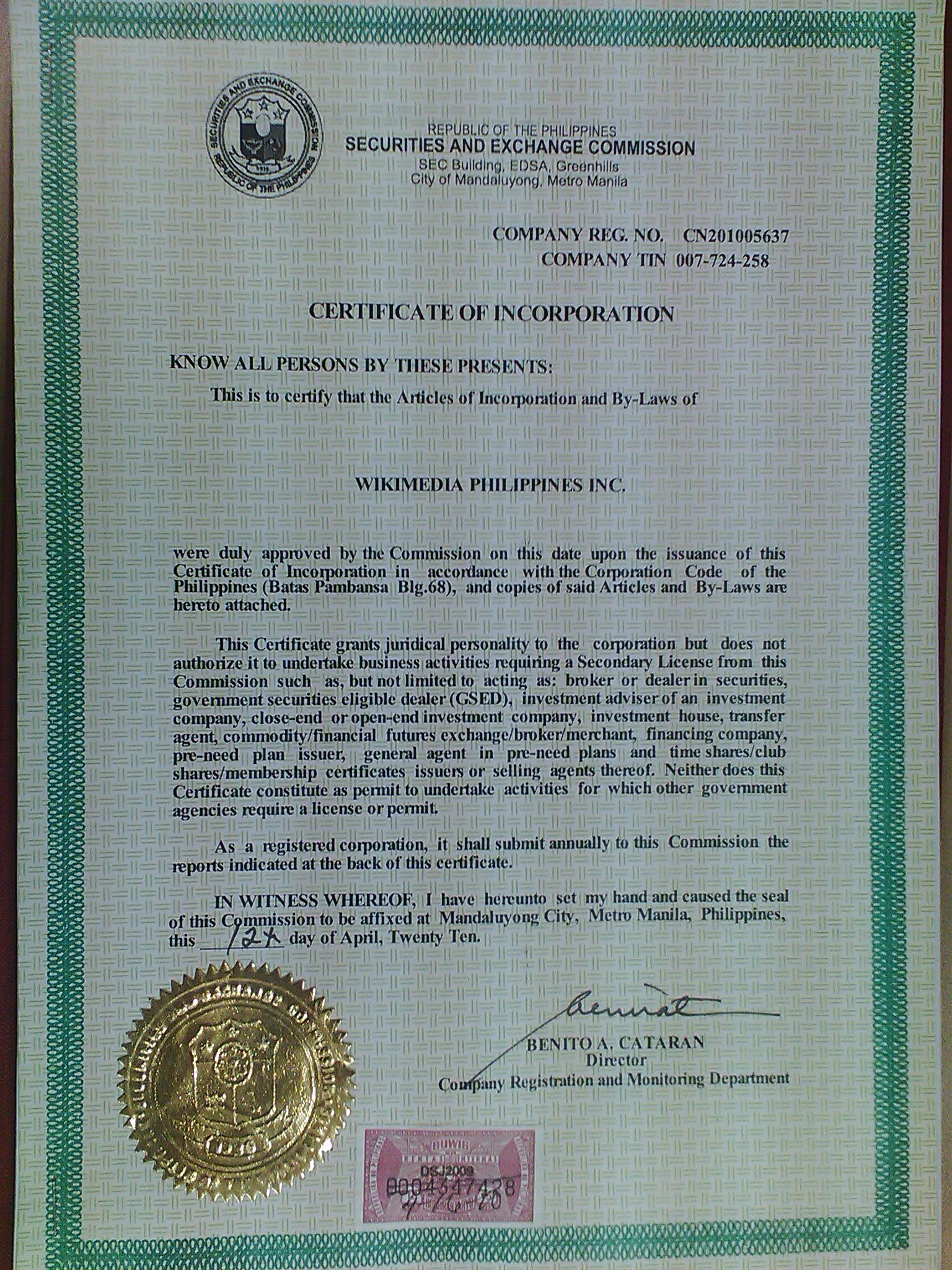 Description Wikimedia Philippines Certificate of Incorporation.jpg