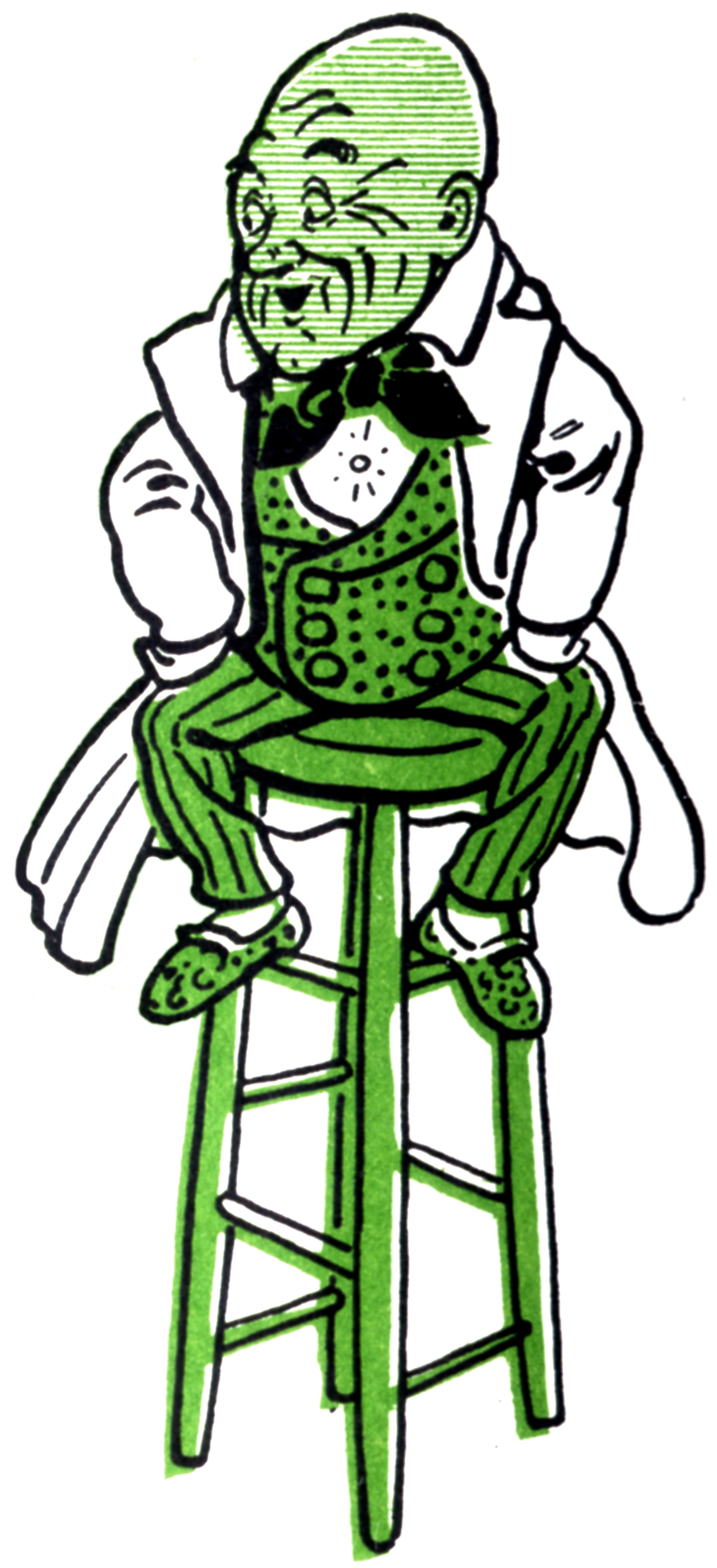 A drawing of the Wizard of Oz sitting on a stool.