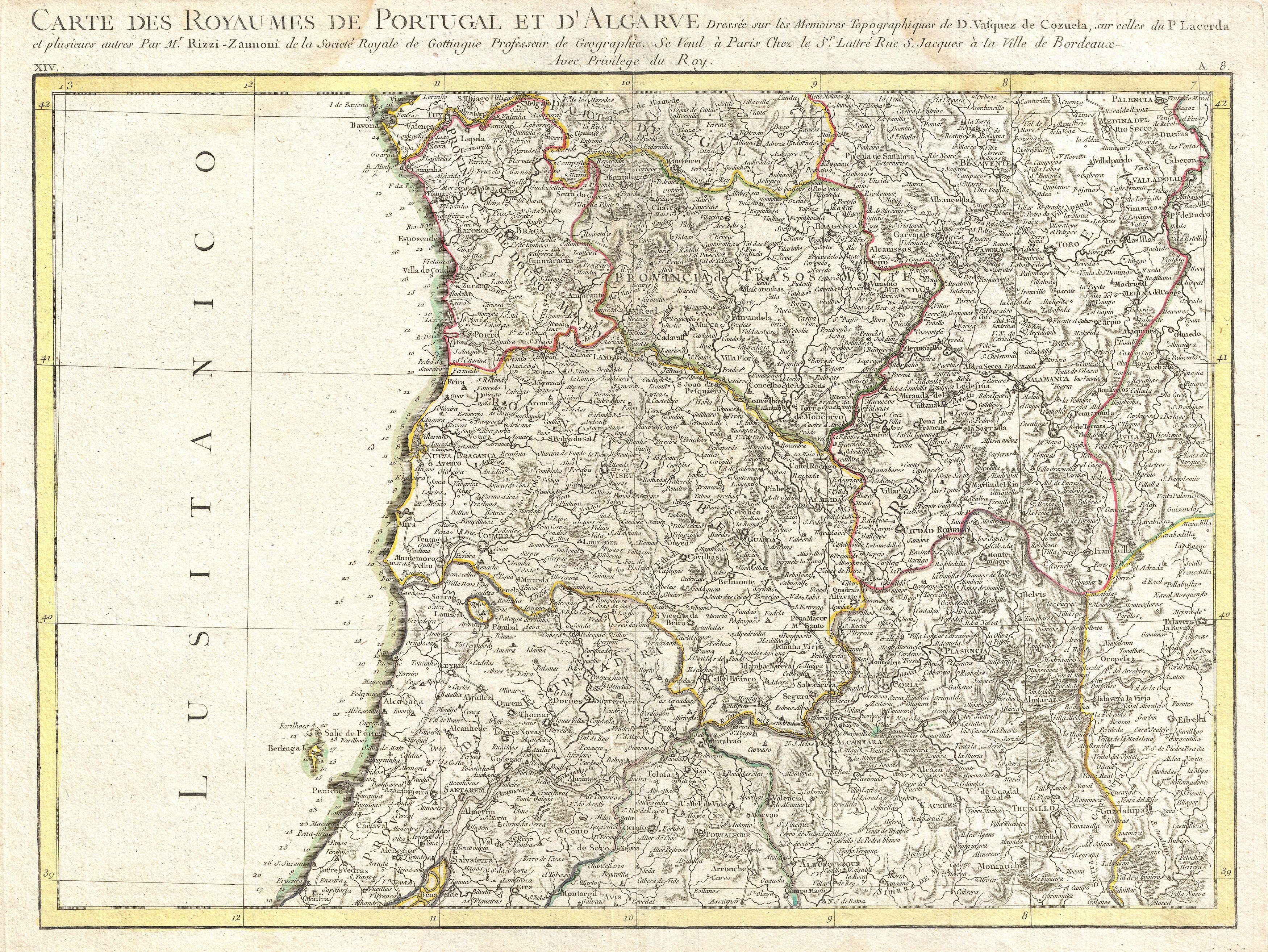 Map Of Northern Portugal And Spain.File 1775 Rizzi Zannoni Map Northern Portugal Oporto