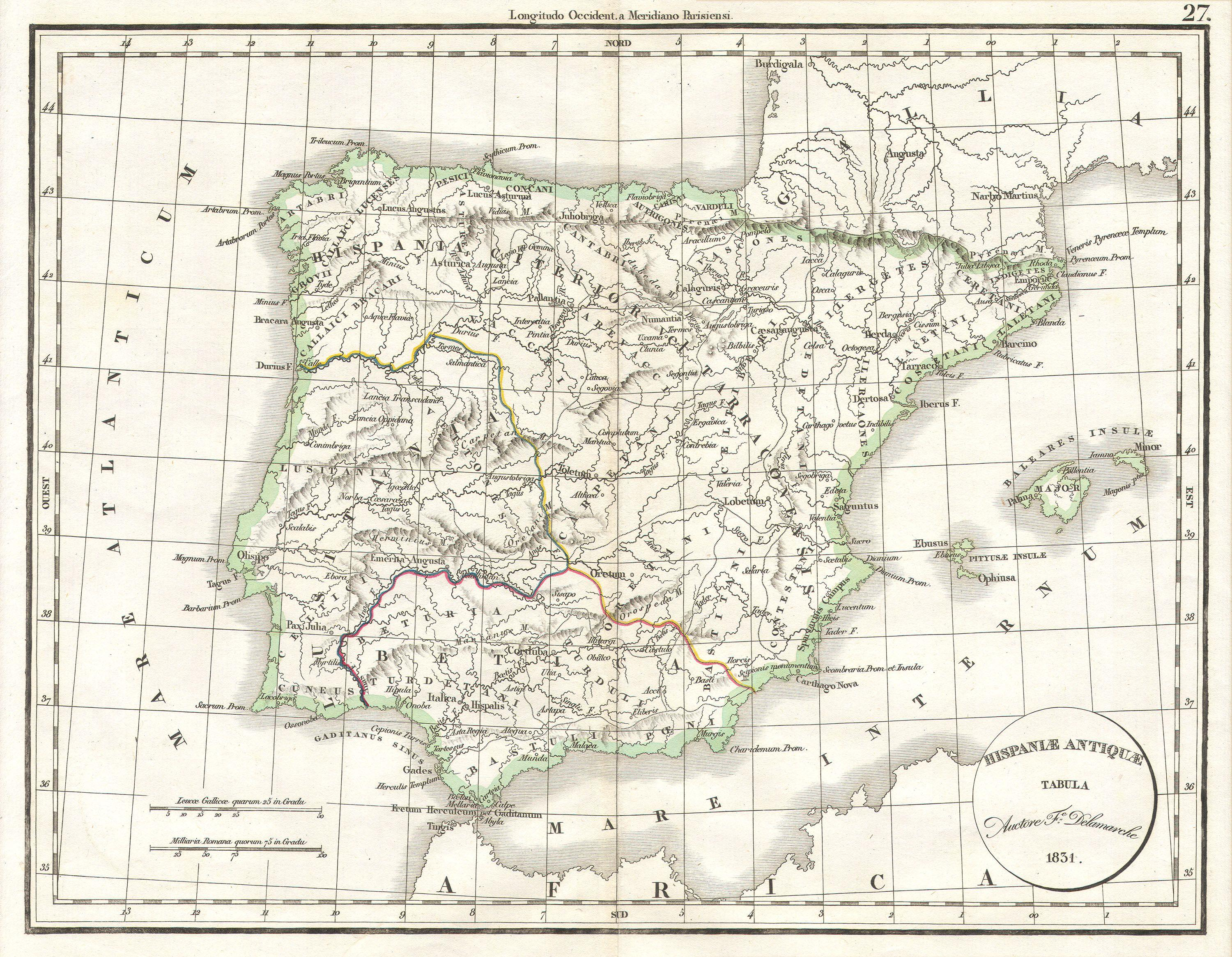 File Delamarche Map Of Spain And Portugal Under The Roman - Portugal map jpg