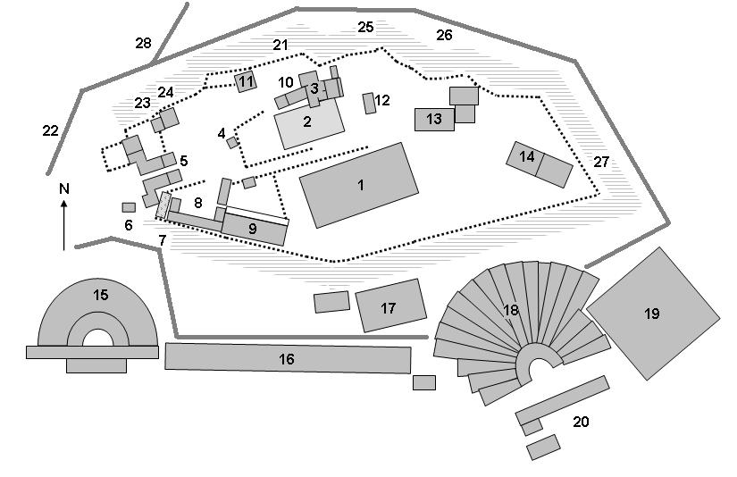 Plano de los principales restos arqueológicos de la Acrópolis.