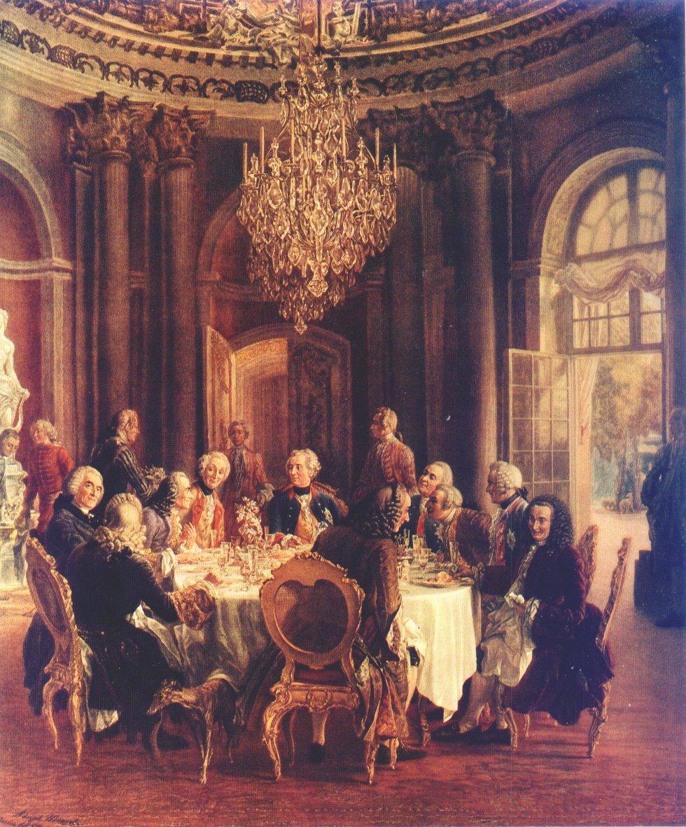 Tafelrunde in Sanssouci mit König FriedrichII. (Mitte), Voltaire (links) und den führenden Köpfen der Berliner Akademie