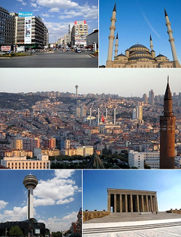 Clockwise, from top: Kızılay Square, Kocatepe Mosque, General view of city centre, Anıtkabir, Atakule Tower