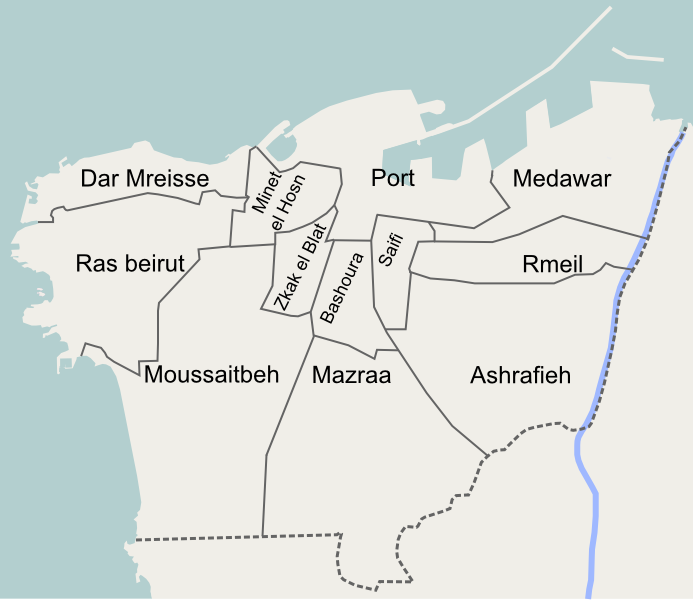 Map of the 12 quarters of Beirut