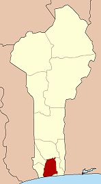 Map of Benin highlighting Atlantique department