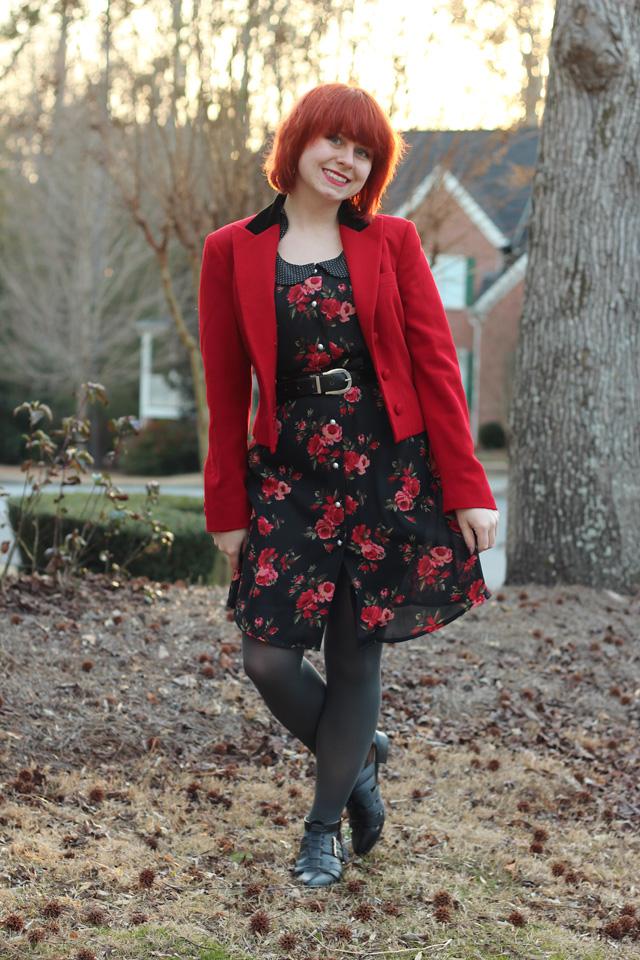 File Black Floral Print Dress Red Ralph Lauren Blazer