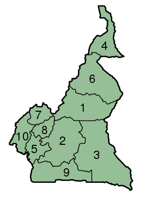 File:Cameroon Provinces numbered 300px.png