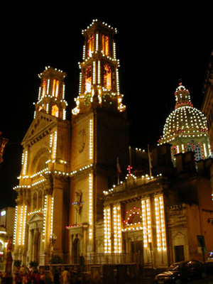 Church festooned with lights for the holidays
