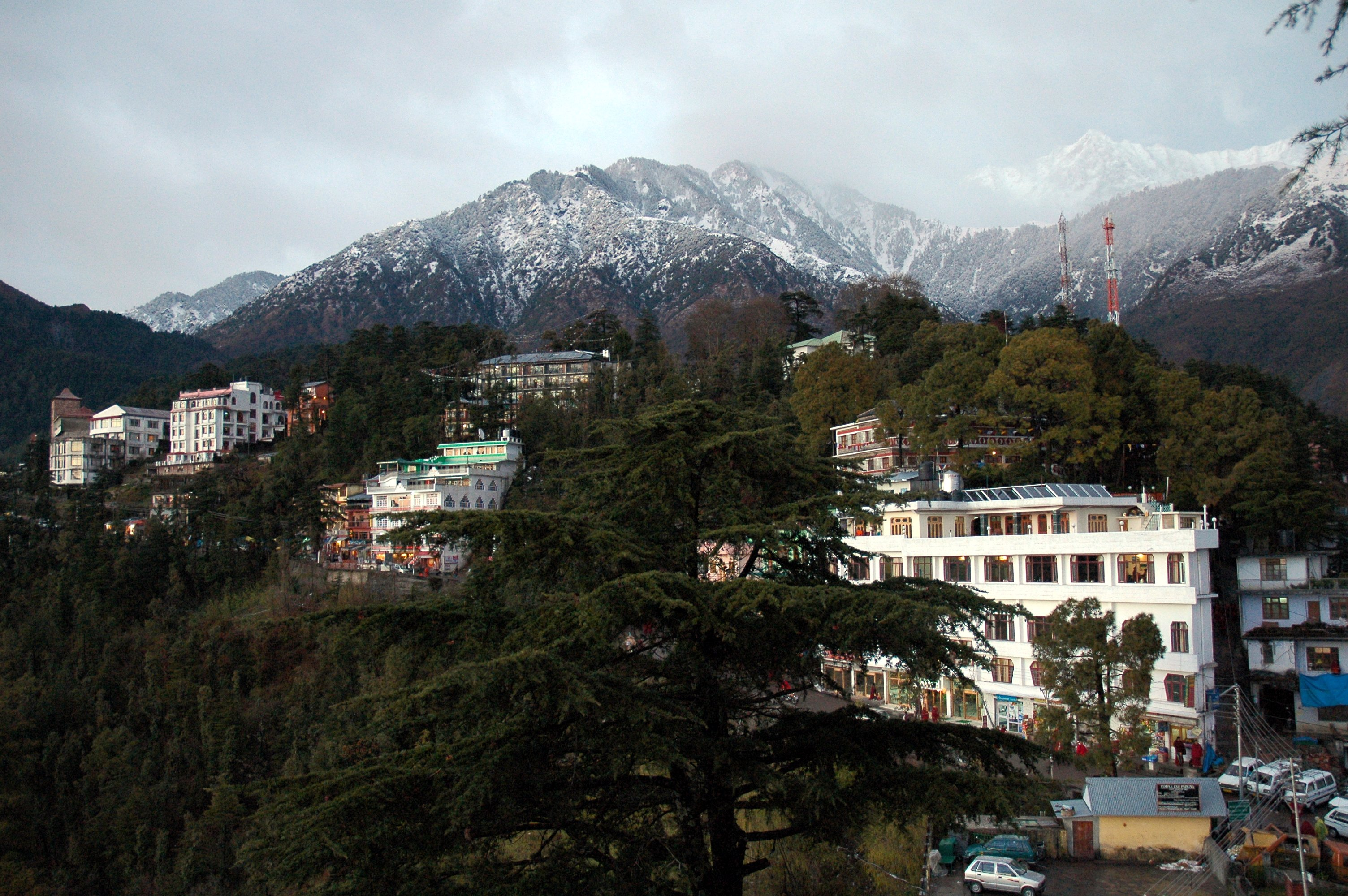 McLeod Ganj and the snowy peaks near Dharamsala
