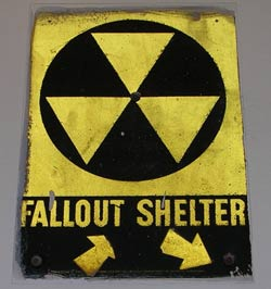 A sign pointing to an old fallout shelter in New York City Fallout shelter.jpg