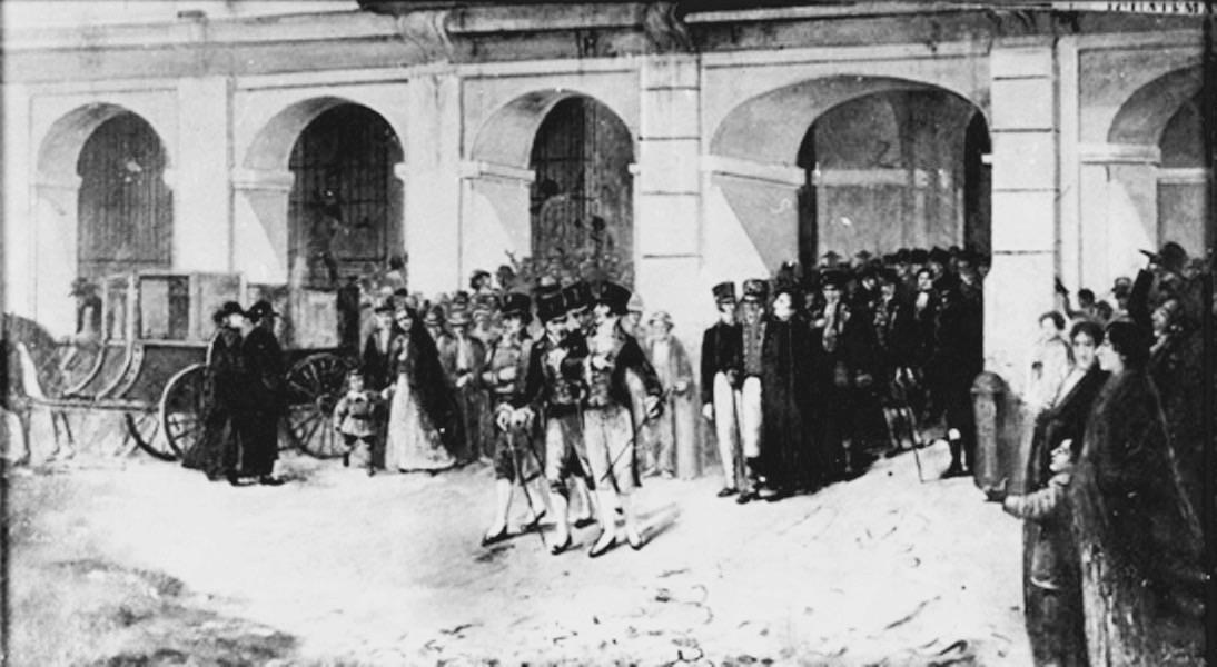 Palacio colonial de Guatemala en el siglo XIX.  Pintura de José Iriarte; tomada de Wikimedia Commons.