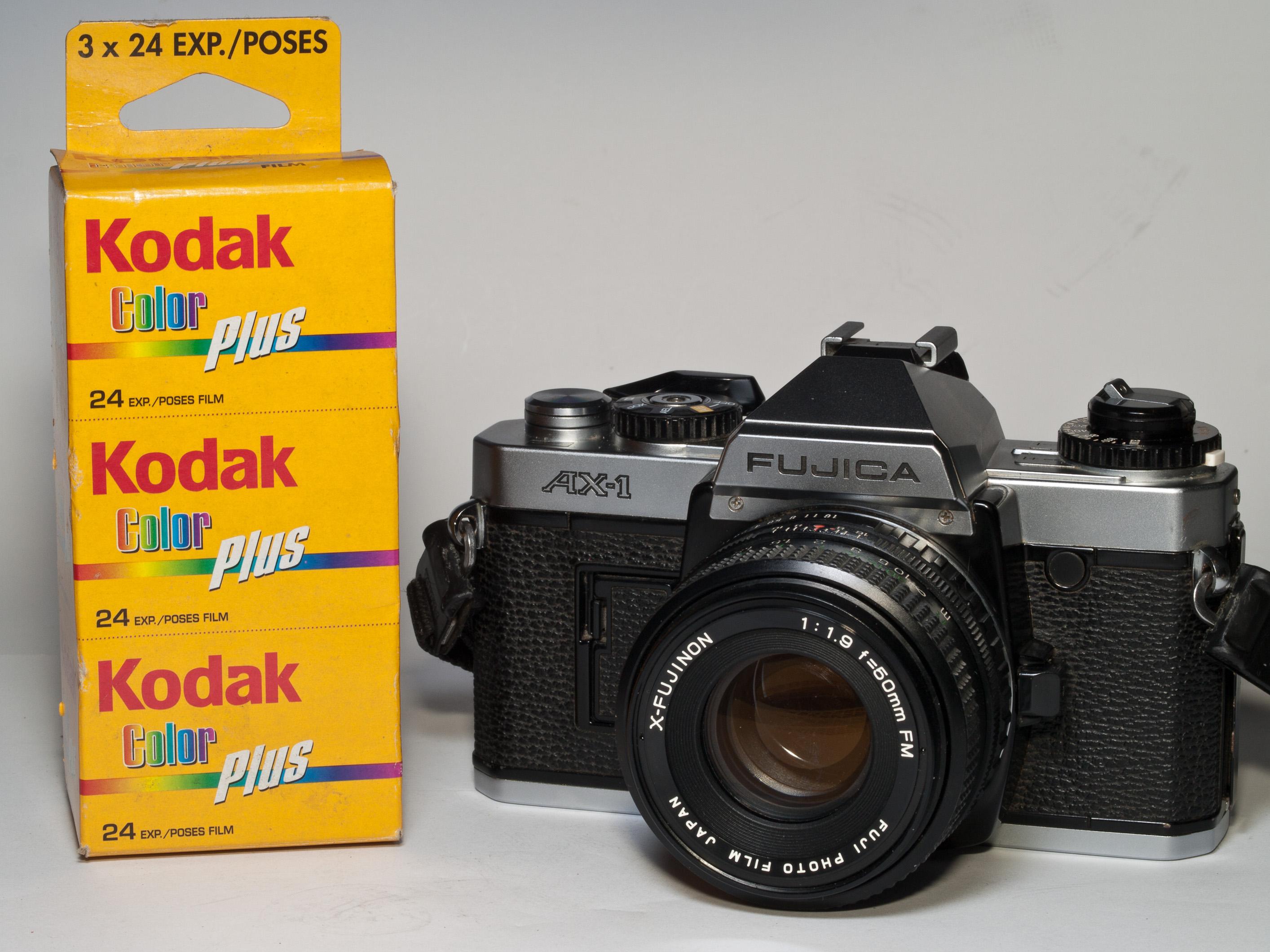 File:Fujica AX-1 SLR and Kodak film.jpg - Wikimedia Commons