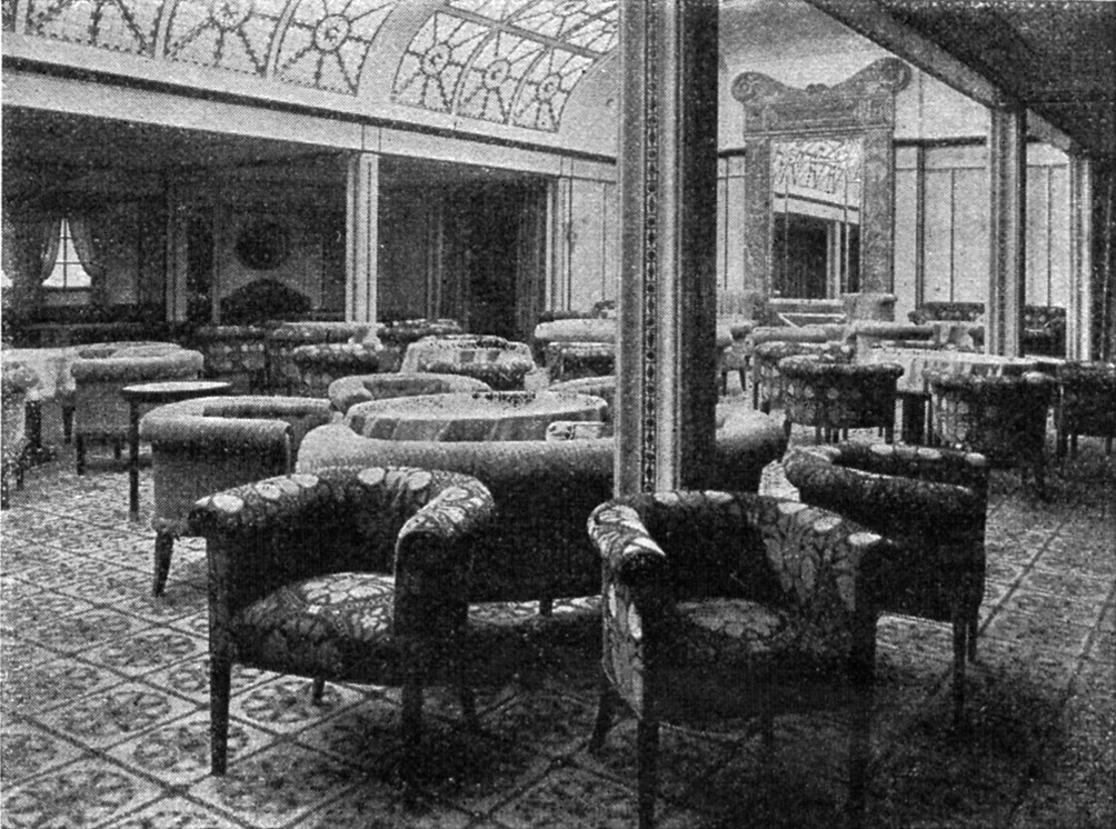 Wintergarden and Salon for 1st Class passengers of the George Washington luxury steamer, built by the Norddeutsche Lloyd in 1909