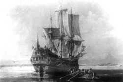 Image of the Roebuck at anchor, with a ship's boat rowing toward shore