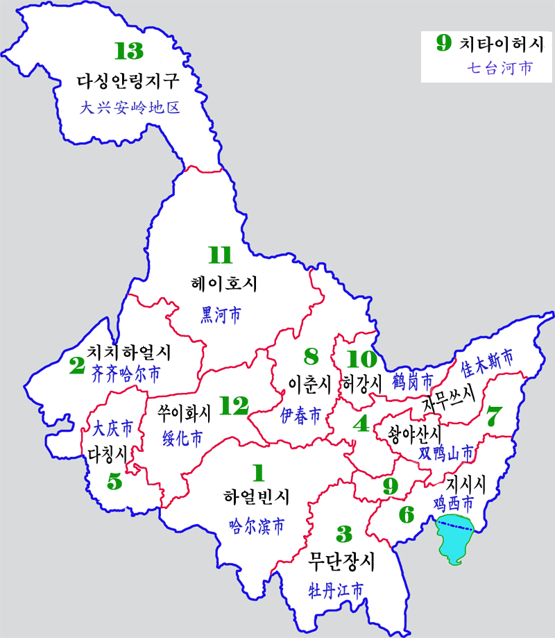 Heilongjiang Province -map