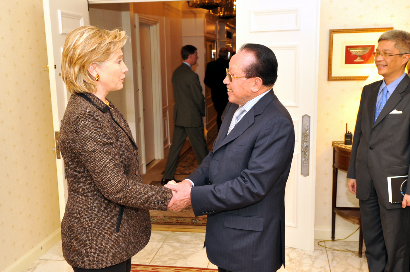 U.S. Secretary of State Hillary Clinton meets with Foreign Minister Hor Namhong in New York City on September 28, 2009