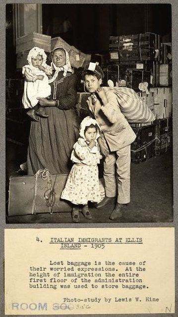 Italian immigrants entering the United States via Ellis Island in 1905 ITALIAN IMMIGRANTS (1905) ELLIS ISLAND NY.png