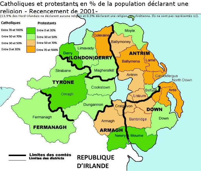 irlande du nord carte File:Irlande du nord   recensement de 2001   carte.png   Wikimedia