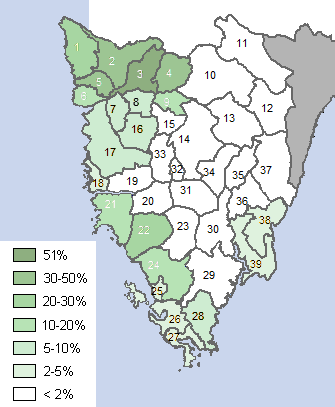 Percentage of native Italian speakers in Croatia's Istria County in 2001 Italians in Istria 2001.png