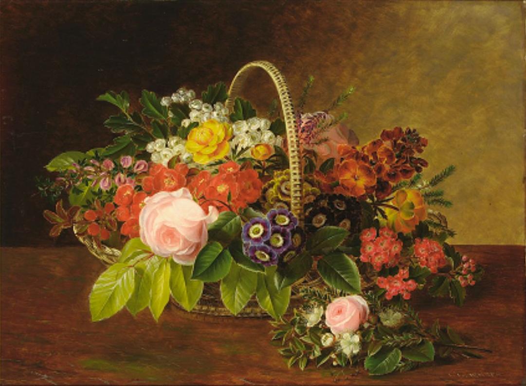 Johan Laurentz Jensen - Lyserøde roser og en buket - 1855.png