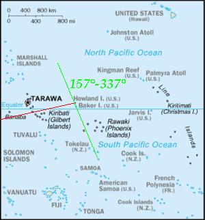 Mapa del océano Pacífico con la isla Howland al centro y la posible ruta de Earhart en la zona, antes de su desaparición.