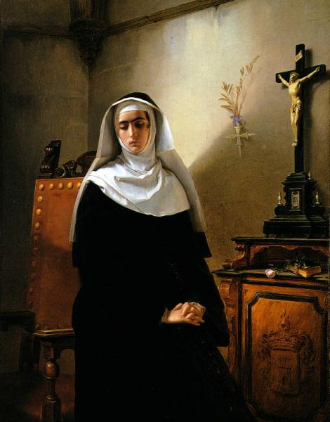 """Giuseppe Molteni, La monaca di Monza, detta """"la Signora"""", 1847, Musei civici di Pavia."""