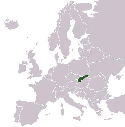 Lage der Slowakei in Europa