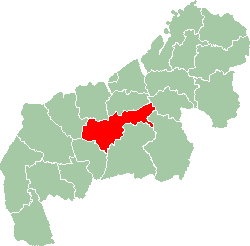 Map of Mahajanga showing the location of Ambatoboeny.